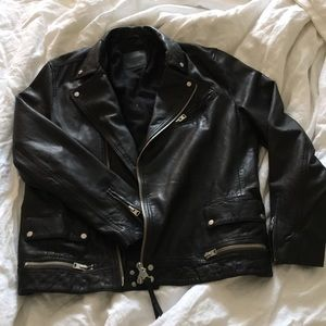 All saints xxl black leather jacket never worn